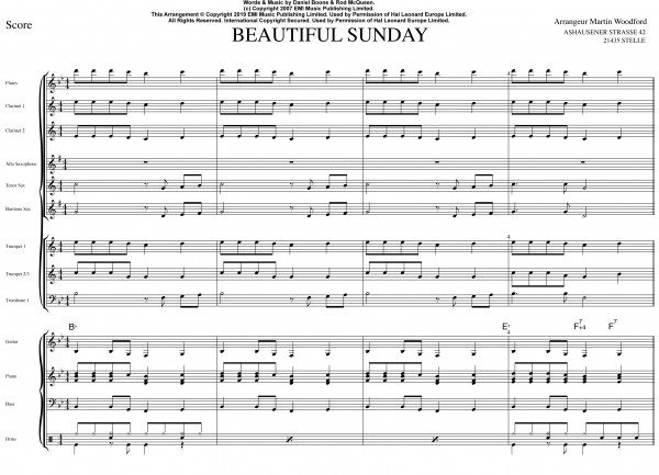 Beautiful Sunday - Auszug Score