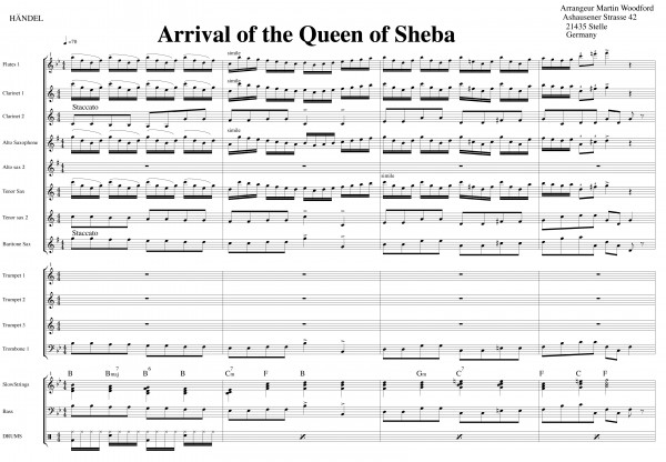 Arrival of the Queen of Sheba - Auszug Score